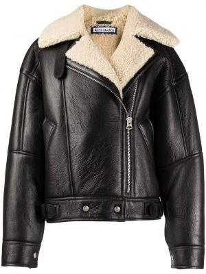 Ватная коричневая кожаная длинная куртка Acne Studios
