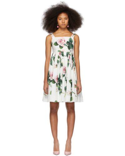 Хлопковое белое платье без рукавов квадратное Dolce & Gabbana