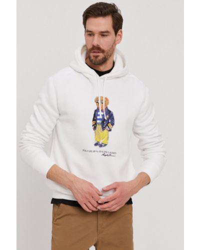 Biała bluza z kapturem bawełniana Polo Ralph Lauren