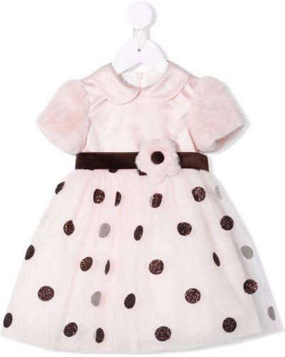 Różowa sukienka mini z printem Colorichiari