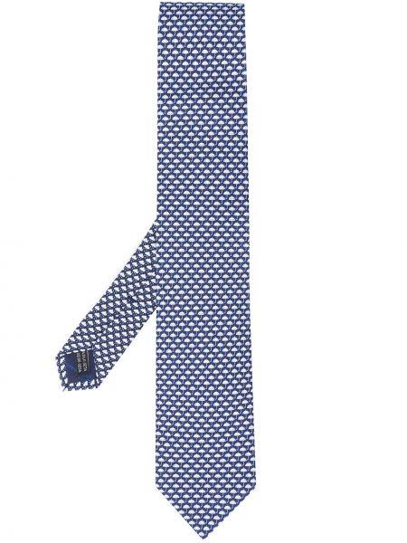 Niebieski parasol z jedwabiu z printem Salvatore Ferragamo