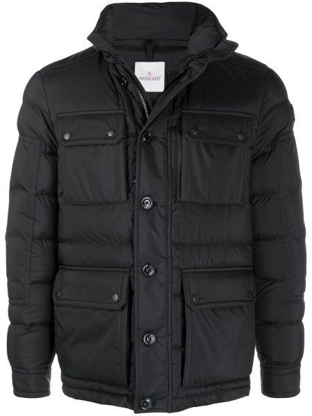 Czarny puchaty długa kurtka z długimi rękawami z kieszeniami Moncler