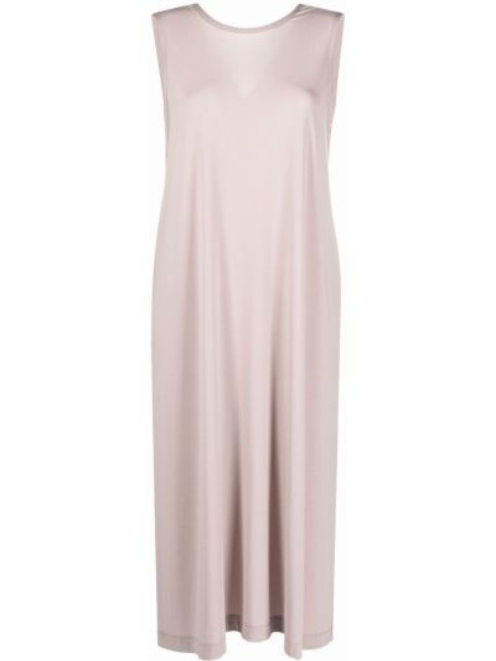 Sukienka midi bez rękawów - beżowa Issey Miyake