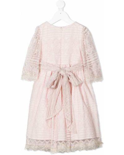 Ажурное розовое платье с рукавами круглое с круглым вырезом Patachou