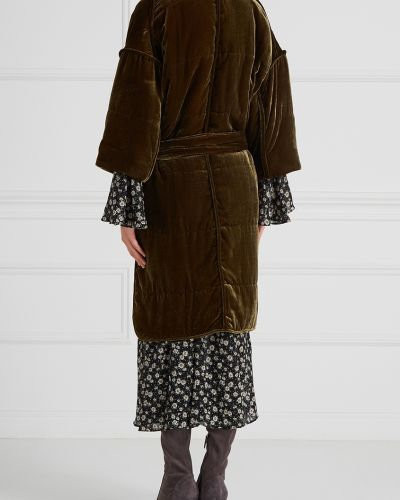 Пальто с капюшоном стеганое зеленое By Malene Birger
