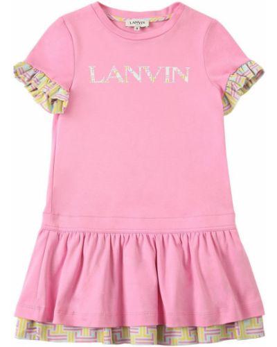 Хлопковое платье - розовое Lanvin