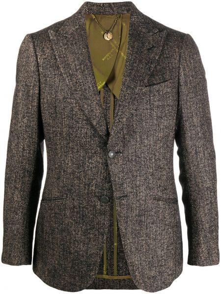 Шерстяной коричневый пиджак на пуговицах с лацканами Maurizio Miri