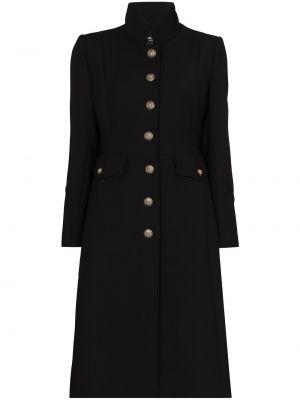Шерстяное черное пальто милитари Dolce & Gabbana