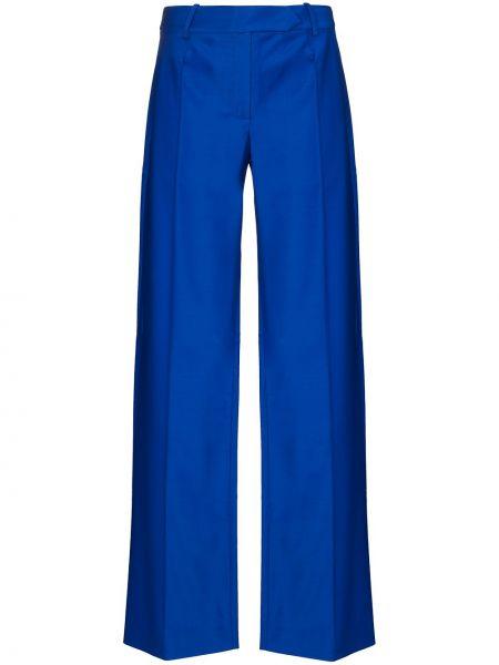 Синие брючные шерстяные плиссированные брюки Aleksandre Akhalkatsishvili