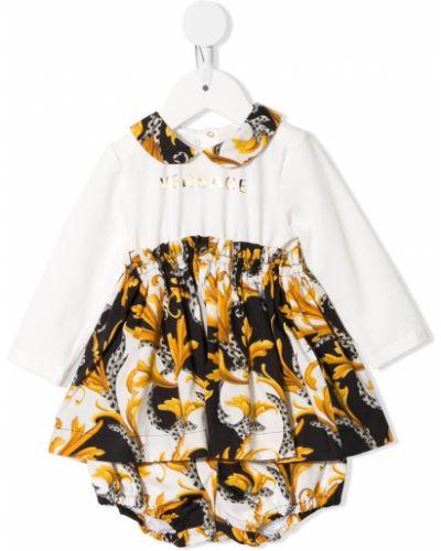 Biała sukienka długa z długimi rękawami bawełniana Young Versace