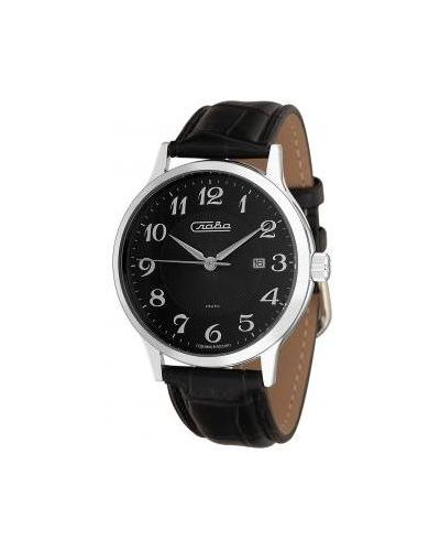 Часы водонепроницаемые с кожаным ремешком кварцевые Слава