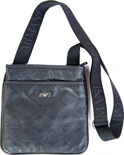 Черная кожаная сумка Armani Jeans