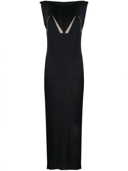 Вязаное платье макси - синее Bevza