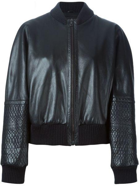 Черная кожаная куртка с манжетами на пуговицах Jil Sander Pre-owned