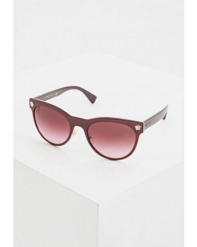 Солнцезащитные очки бордовый круглые Versace
