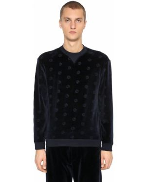 Prążkowana niebieska bluza bawełniana Giorgio Armani