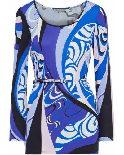 Niebieska tunika z jedwabiu z paskiem Emilio Pucci