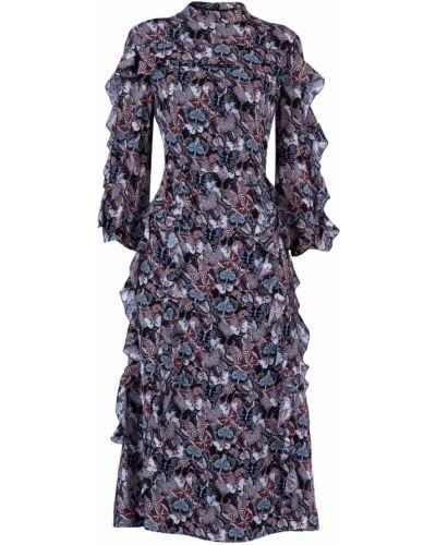 Платье миди шелковое с принтом Valentino