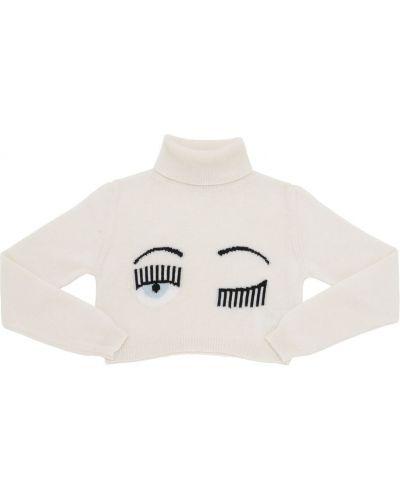 Biały sweter wełniany Chiara Ferragni
