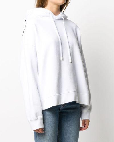Белое худи с надписью с капюшоном Maison Margiela