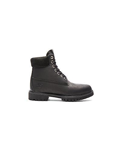 Кожаные ботинки на шнуровке черные Timberland