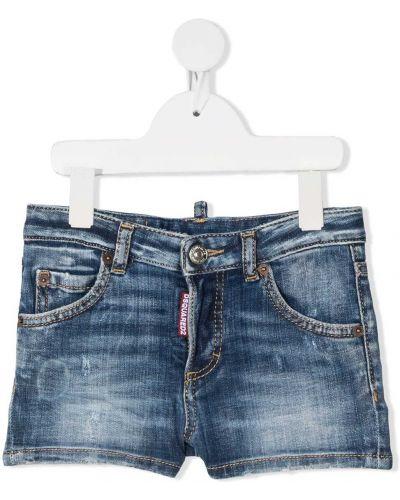 Синие кожаные джинсовые шорты с нашивками Dsquared2 Kids