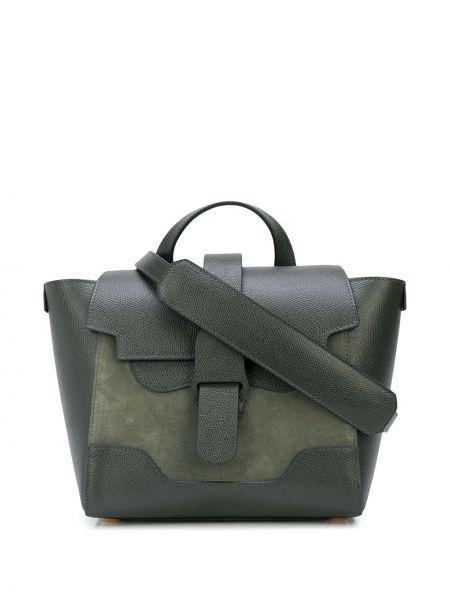 Zielona torebka mini skórzana klamry Senreve