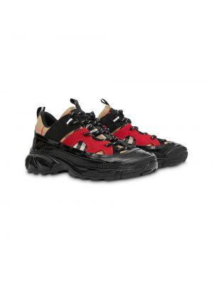 Ажурные кожаные черные кроссовки с тиснением Burberry Kids