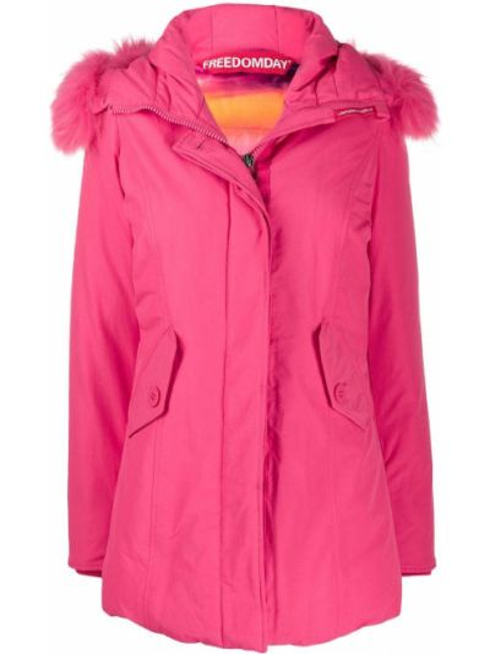 Прямое пуховое розовое длинное пальто с капюшоном Freedomday