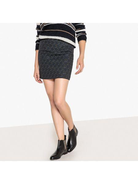 Прямая синяя юбка мини с рисунком с рукавом 3/4 Sud Express