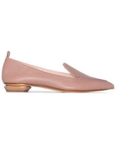 Różowe loafers skorzane Nicholas Kirkwood