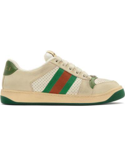 Zielony skórzane sneakersy perforowany na sznurowadłach z prawdziwej skóry Gucci
