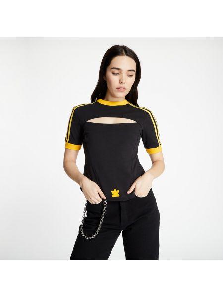 Черная футболка в полоску с нашивками Adidas Originals