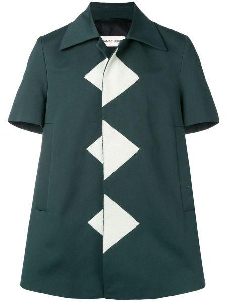Прямая рубашка с короткими рукавами с воротником с нашивками с карманами Namacheko