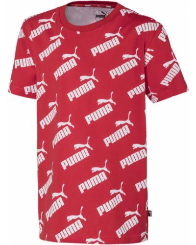 Хлопковая красная с рукавами футболка Puma