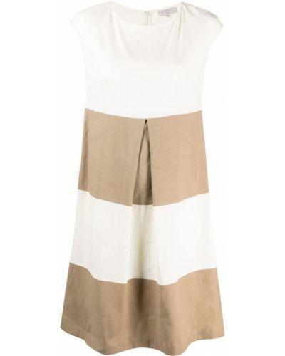 Плиссированное белое платье миди с вырезом Antonelli