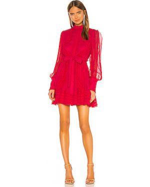 Текстильное розовое платье мини на пуговицах с подкладкой Alexis