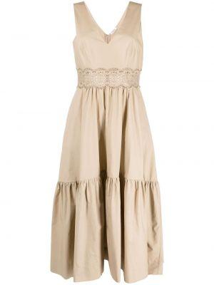 Хлопковое платье миди без рукавов с вырезом P.a.r.o.s.h.