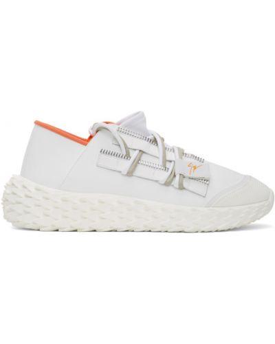 Skórzane sneakersy białe z siatką Giuseppe Zanotti