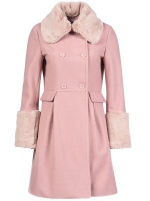 Шерстяное пальто - розовое Mangano