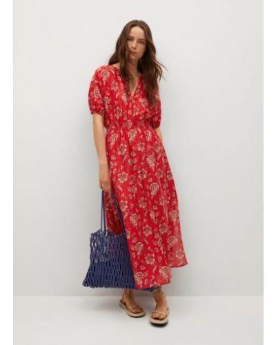 Расклешенное красное платье миди с короткими рукавами Mango