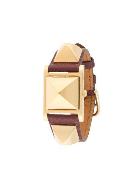 Złoty zegarek na skórzanym pasku pozłacany kwarc Hermes