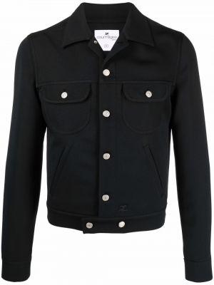 Czarna kurtka z haftem Courreges