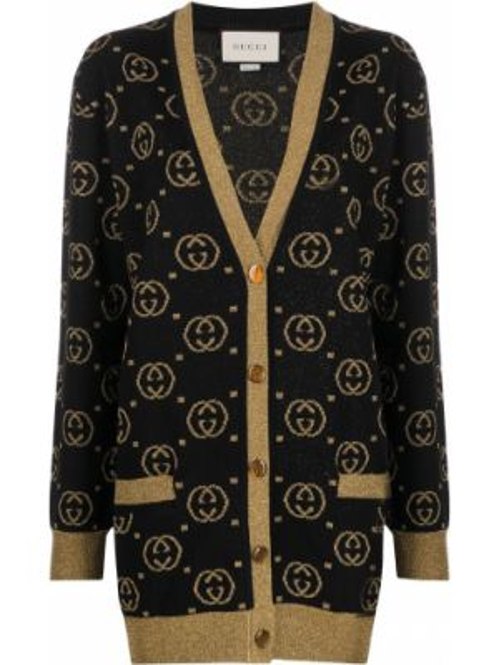 Текстильный черный кардиган с вышивкой на пуговицах Gucci