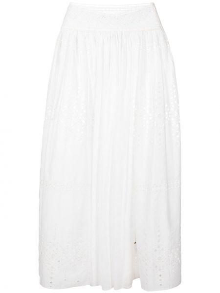 Bawełna z wysokim stanem spódnica maxi z haftem Ermanno Scervino