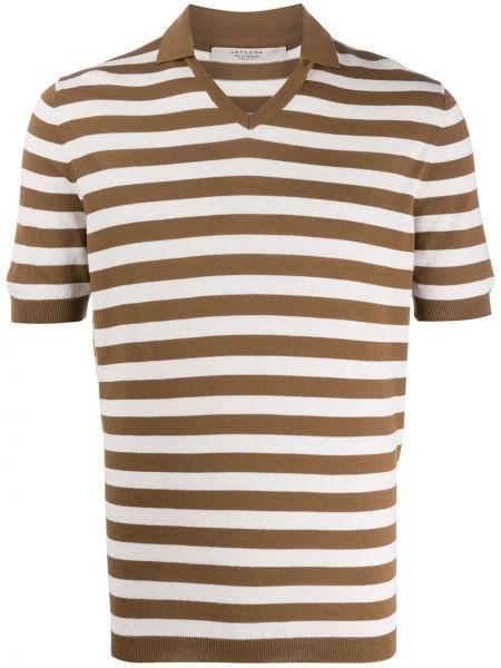 Свободная коричневая прямая рубашка с короткими рукавами с V-образным вырезом La Fileria For D'aniello