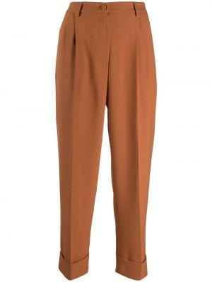 Прямые коричневые укороченные брюки на пуговицах с высокой посадкой Hebe Studio