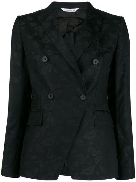 Черный приталенный классический пиджак с карманами Tonello