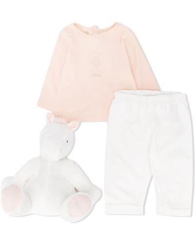 Różowy garnitur bawełniany z długimi rękawami Chloé Kids