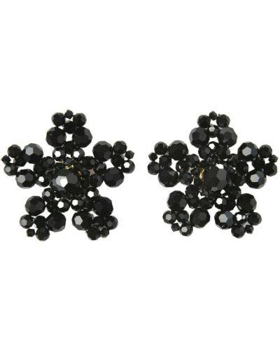 Czarne kolczyki w kwiaty Simone Rocha